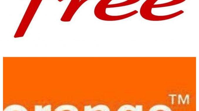 Collage photo avec les logo d'Orange et Free