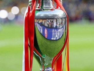Le trophée de l'Euro 2012 remporté par l'Espagne face à l'Italie.